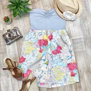 Roxy gray floral strapless sun dress size M